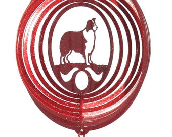Border Collie COMBO Red Mini Swirly Metal Wind Spinner