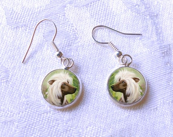 Chinese Crested Drop Earrings ~ Birthday Gift ~ August Birthday ~ Dog Earrings ~ Gifts for Her ~ Dog Painting