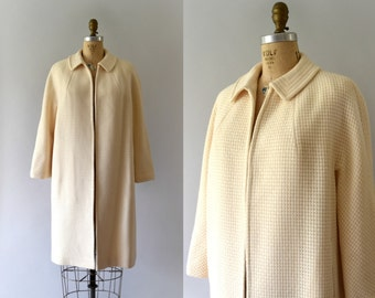 1950s Vintage Coat - 50s Betty Rose Ivory Wool Dress Coat