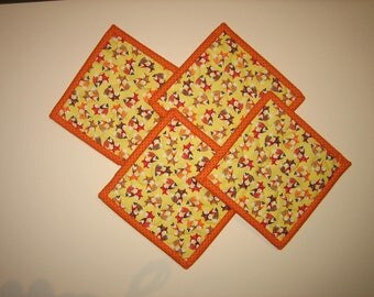 """Fox Woodland Fabric Coasters, 5x5"""", Quilted, 100% cotton fabrics"""
