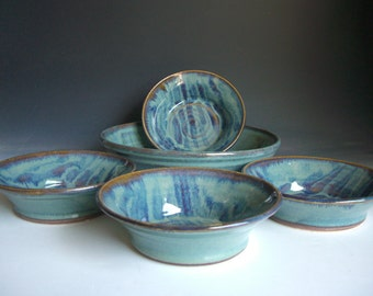 Hand thrown stoneware pottery bowl set of 5  (BS-1)