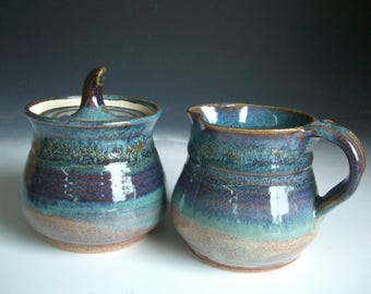 Hand thrown stoneware pottery cream and sugar set (CS-4)
