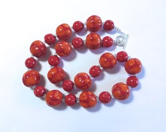 Kazuri Necklace, Ceramic Jewelry, Kazuri Bead Necklace, Red and Orange Kazuri Necklace