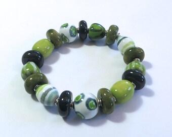 Beaded Bracelet, Kazuri Bangle, Fair Trade, Ceramic Jewelry, Green and White Bangle