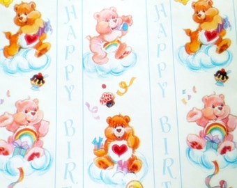 One Sheet of Vintage Happy Birthday Wrapping Paper Care Bears Gift Wrap Retro Vtg White Hearts Rainbows Present Made in USA