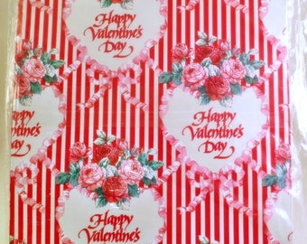 Vintage Wrapping Gift Paper Sealed Roses Valentine's Day Heart  Love Stripes Red White Scrapbooking