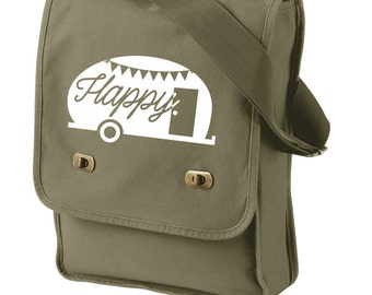 Happy Camper Canvas Field Bag, Sling Bag, Messenger Bag, Travel Bag