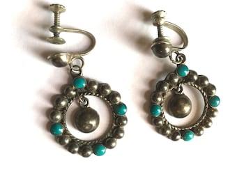 Sterling Blue Turquoise Earrings