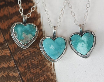 Genuine Turquoise Heart Necklace, Southwestern Necklace, Turquoise Necklace