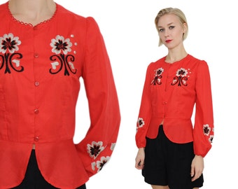 Heart Embroidered Peasant Blouse / S / Hand Embroidered 70s Red Boho Peplum Blouse