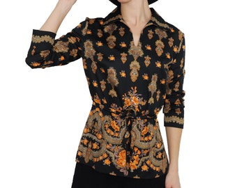 70s Baroque Print Long Sleeve Belted Tunic Shirt   M / L   1970s Vintage Long Sleeve Hippie Deluxe Top