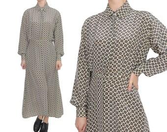 Calvin Klein SILK Shirtwaist Dress | size M | Foulard Print Button Up Designer Shirt Dress
