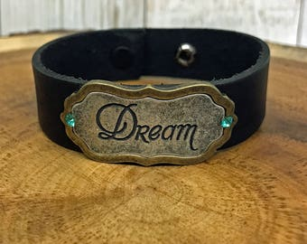 Dream Genuine Leather Cuff Bracelet with vintage Swarovski Crystals Inspiration bracelet Unisex Bracelet Gift for her bracelet with snaps