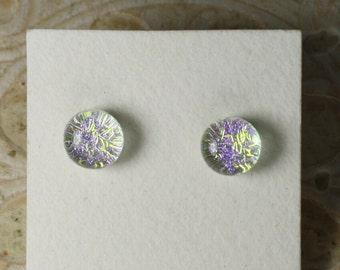 """Dichroic Glass Earrings Golden Violet  5/16"""" DGE-913"""