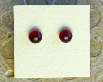 Dichroic Glass Earrings, Petite, Cranberry Red DGE-1004