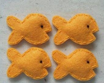 4 Handmade Felt Felties Puffy Goldfish Cracker Appliques