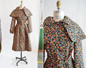 Vintage 1960s QUILTED floral maxi coat