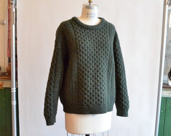 Vintage 1980s merino wool CABLEKNIT pullover
