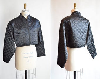 Vintage 1990s cropped and quilted SATIN bomber