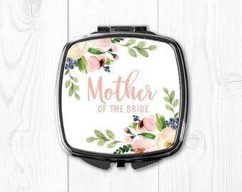 Mother of the Bride Gift from Bride Pink Floral Personalized Compact Mirror Mother of the Bride Wedding Gift for Mom Wedding Gift Ideas