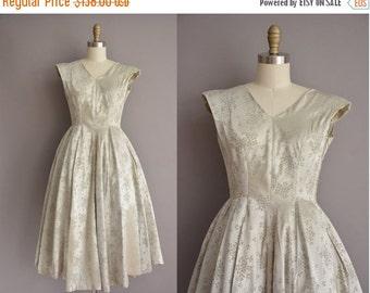25% off SHOP SALE... 50s satin sage floral vintage party dress / vintage 1950s dress