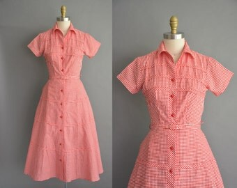 vintage 1950s red gingham cotton dress / 50s dress /  vintage 1950s dress