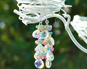 Rainbow Quartz Dangle Earrings / Sterling Silver / Pink Topaz Gemstone / Vesuvianite / Green / Blue / Orange / Mystic / Wire Wrapped