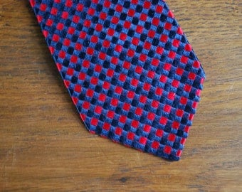 Mid century red and blue silk tie 1960s