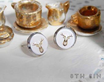 Antique Silver Deer Stud Earrings, Silver Antler Earrings, Brown Deer Earrings, Brown Antler Earrings, Nature Stud Earrings, Nature Jewelry