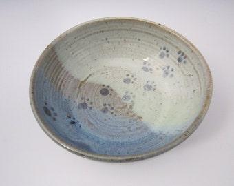 Pet Feeding Dish - Stoneware Shallow Bowl - Blue Green Ceramic Pottery - Handmade Pet Cat Dog Dish - Paw Print Water Bowl - gift for pet