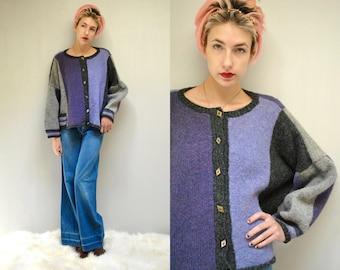 Hand Knit Sweater  //  Novelty Wool Cardigan //  THE IRISES