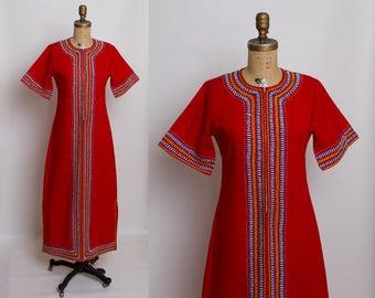 1970s embroidered caftan dress | vintage kaftan