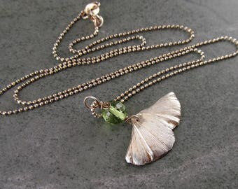 Tiny Gingko leaf pendant with peridot, handmade eco friendly fine silver necklace-OOAK
