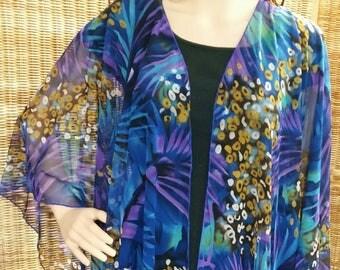 Ruana Jacket Wrap Purple Blue Green Gold Australian Made
