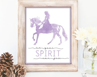 Wall Art print - Bohemian Watercolour Horse and Rider Art work - 'Let your Spirit run free'. 8 x 10 inch format