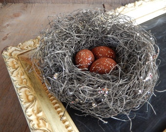 Bird Nest Cinnamon Eggs Silver Glitter Holiday Christmas Decor Rustic Folk Art by AMarigoldLife