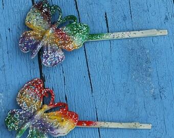 Colorful Butterfly Hair Pin, Butterfly Hair Pins, Colorful Hair Pin, Enameled Butterfly Hair Pin, Fashion Accessory, Retro Hair Pins, Hair