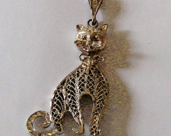 Meow Big Kitty Cat 3 D Pendant Sterling