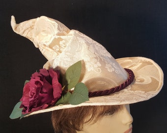 "On Sale Now 50 % Off Sleek Creamy Scrunched Witch Hat with Purple Flower and Cord and Bouquet size ""S"""