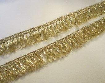 """7 yards gold loop trim - 5/8"""" golden fringe, metallic gold loop fringe, gold trim"""