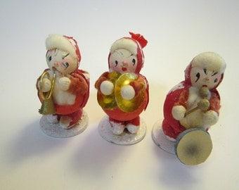 vintage paper mache band - made in Japan - holiday elf band, elves