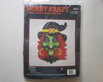 rare vintage RASPUTIN kit - Hobby Kraft plastic canvas needlecraft kit #4537 - unopened - witch kit