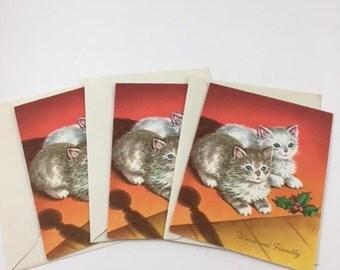 Vintage Unused Kitten Christmas Cards