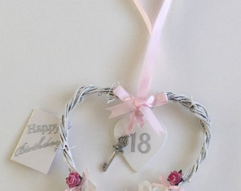 18 Birthday shabby chic hanging heart Keepsake gift