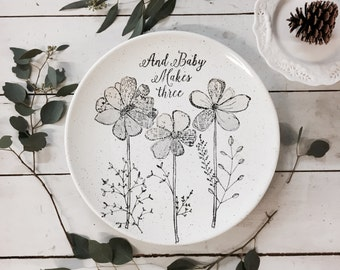 1013flo-stk Non Personalized Baby Makes Three Wall Art Plate, Nursery Room Decor, First Baby Gift Plate, Hand Painted New Baby Gift