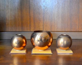 vintage art deco chase copper candlestick and match holders / vintage candlesticks / 1940s home decor