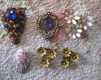 Lot of 6 Vintage Metal Dress Clip Fur Clips Pin Brooch