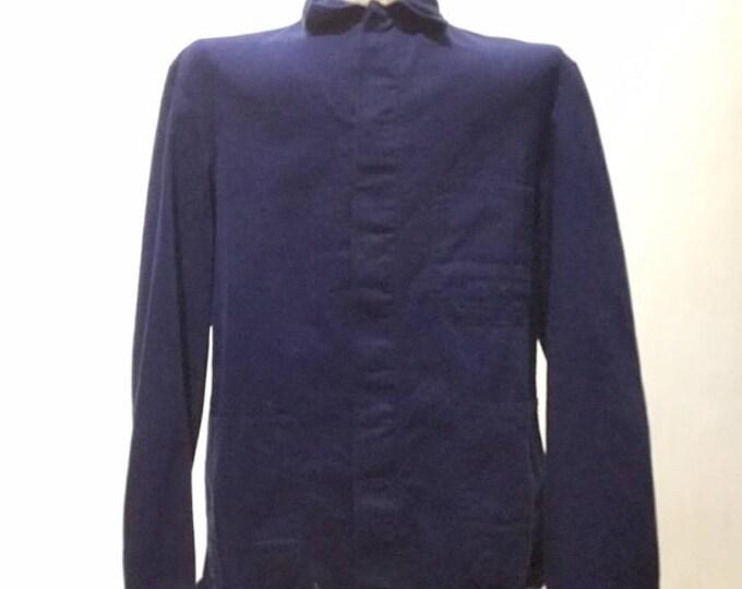 Vintage European Blue Cotton Button Up Distressed / Weathered Chore Coat (os-ewj-6)