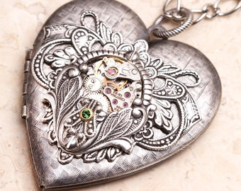 Heart Necklace Silver Heart Locket Necklace Heart Silver Heart Pendant Steampunk Heart