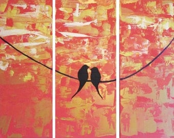 extra large wall art triptych love bird on a wire abstract painting triptych canvas wall art abstraction contemporary art 48 x 48""